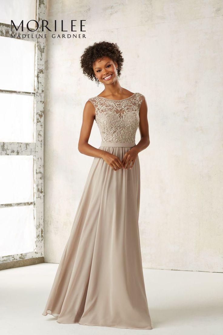 Elegancka, suknia wieczorowa Mori Lee, z szyfonu. Piękna, długa suknia, z haftowanym gorsetem na iluzorycznym materiale, z delikatnie połyskującymi koralikami, …