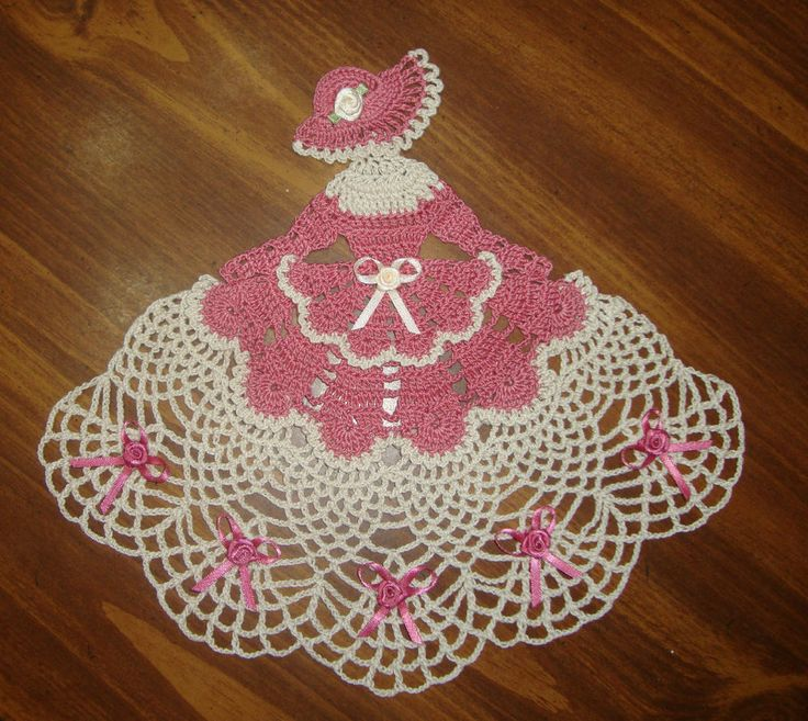 ~TAMS CRINOLINE LADY GIRL DOILY~DUSTY ROSE~CROCHETED~10 x 12 INCHES.  Color Inspiration.