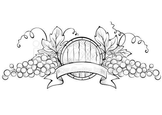 Elementi di Design, uva e Botte di vino con nastro arte vettoriale stock royalty-free