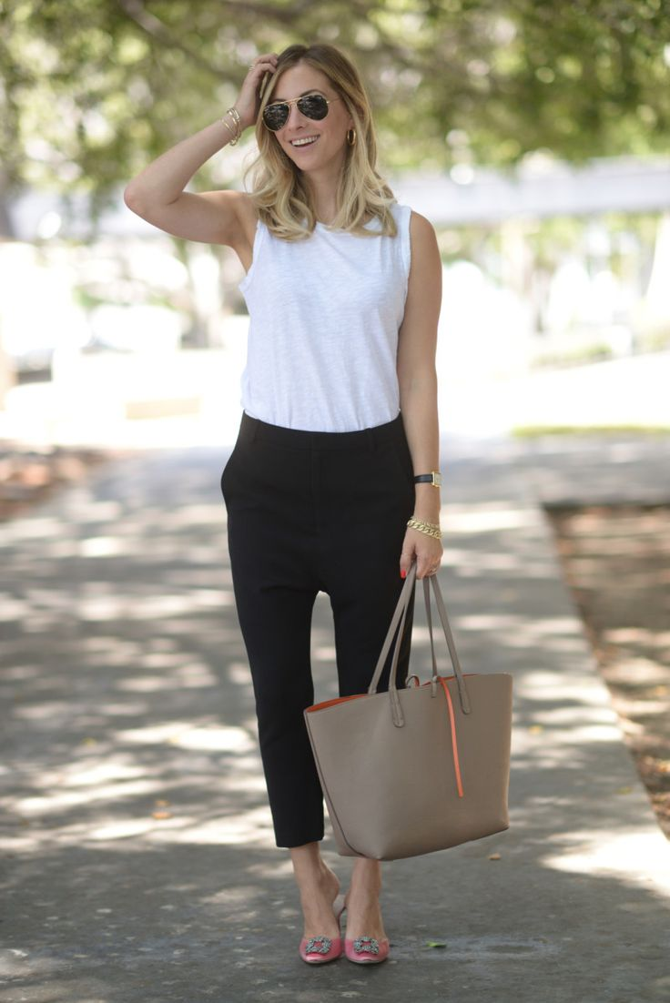 Ray-Ban Aviators, Vintage Earrings (similar here), Current/Elliott Tank, Nili Lotan Pants (affordable option here), Manolo Blahnik Pumps, Zara Tote