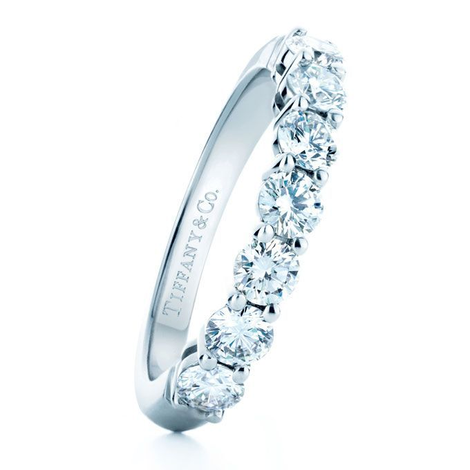 Tiffany & Co. - Tiffany Celebration Platinum Wedding Band with Half-Circle of Round Diamonds | - jewelry womens rings, jewelry womens rings, discount womens jewelry