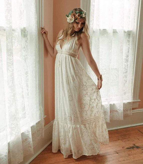 Boho Wedding Dress, Velvet Burnout Dress, Halter Wedding Dress, Beach Wedding Dress, Hippie Wedding Dress, Bohemian Wedding Dress, Lace