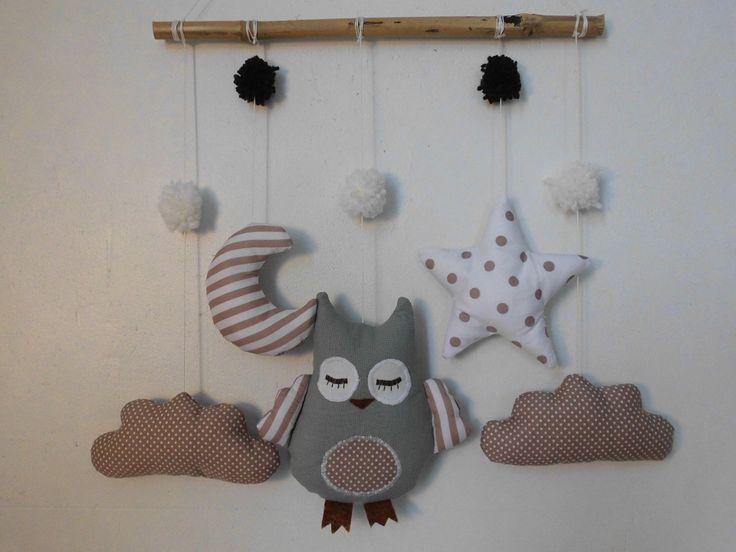 Mobile hibou dans les nuages - blanc marron : Jeux, peluches, doudous par melomelie