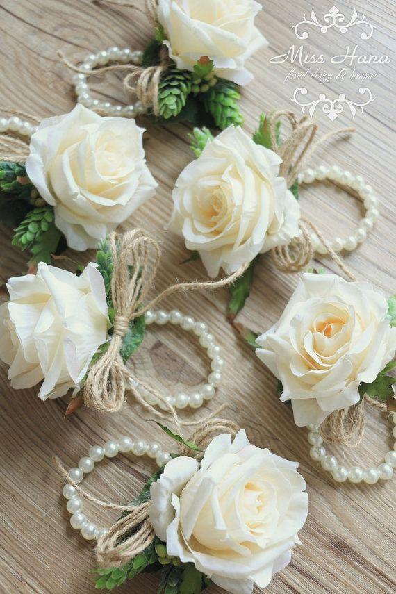 Ivory rose corsage Rustic Vintage Wrist corsage pearl wrist