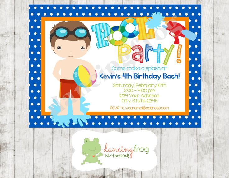 Boy Pool Party Invitation - Printed Boy Pool Party Invitation by Dancing Frog Invitations by DancingFrogInvites on Etsy https://www.etsy.com/listing/194849215/boy-pool-party-invitation-printed-boy
