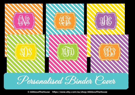 Monogram Printable Binder Cover and spine -Diagonal Stripes - Personalised - Monogram Binder Cover-Monogram Stationery-Preppy-Back to School... Available here: https://www.etsy.com/au/listing/162662267/monogram-printable-binder-cover-and