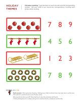 Free Christmas math worksheets to help young children practice basic math skills such as counting, sorting, graphing, and patterning.
