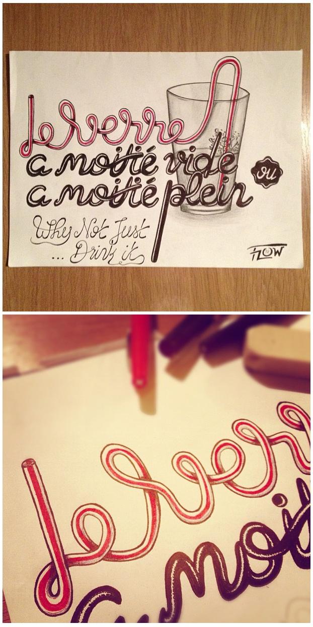 // Illustration typographique faite à la main. feutre, bic et crayons de couleurs.//