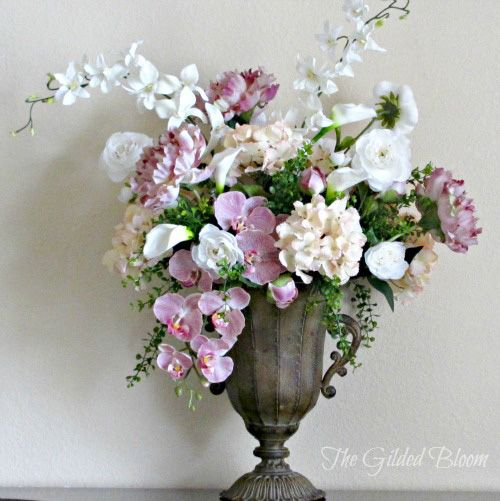 The Gilded Bloom: Spring Floral Arrangement: Designing with Silk Flowers