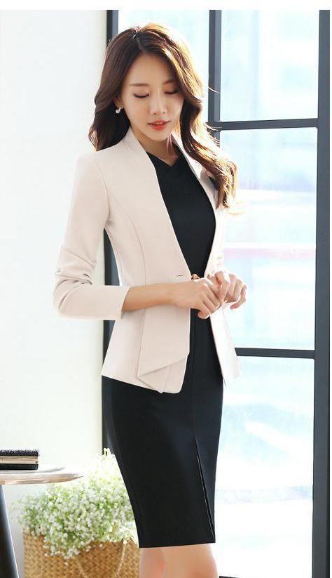753ad93dcac YAUAMDB women dress suit 2017 autumn winter size S-4XL ladies office two  piece set female suits blazer+Knee-Length dress y146