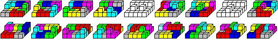 "The main problem of the Soma ""research"" is to assemble the seven Soma pieces or 27 cubelets to make a 3x3x3 cube.  The chance of solving this three-dimensional puzzle  is good, because there are 240 possibilities to put  the cube together, not counting symmetries."