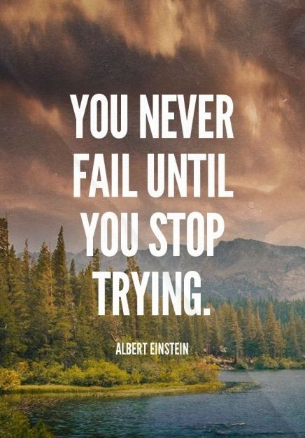 You never fail until you stop trying. - Albert Einstein