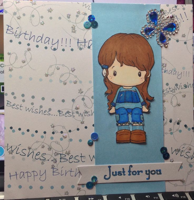 Happy Birthday blue jeans! Cc design stamp, mft sentiments