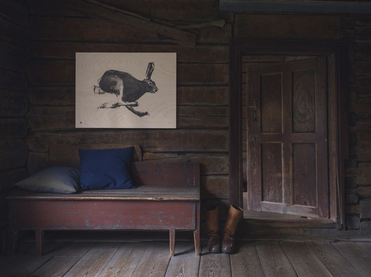 Mountain Hare Fine Art Print on Wood Teemu Järvi Illustrations http://www.teemujarvi.com/en/shop/wood-prints/86-mountain-hare.html Photo: Unto Rautio