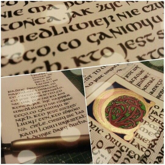 Work in progress - quotation in uncial with golden initial. AgaWęgrowska #uncial #initial #calligraphy