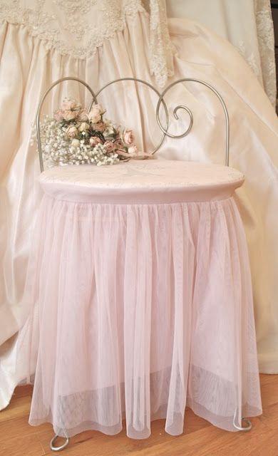 Beautiful vignette ~ Tulle vanity chair & Lace wedding dress~❥