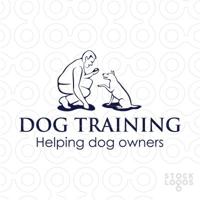 Logo shows outlines of an owner (or trainer) interacting with the dog. Logo designed for a dog behaviourist, who is helping dog's owner to train their pets to be more obedient.