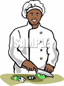 Black Woman Cooking Clipart A Smiling African American Chef Chopping Lettuce And Mushrooms 100903 204815 285009 Jp African American Black Women Cooking Clipart