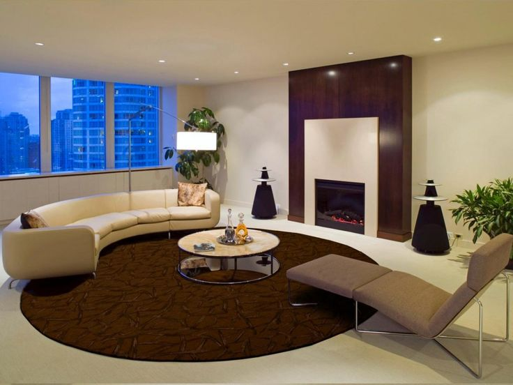 Modern Chic Living Room With Finest Round Brown Solid Tufted Wool Area Rug Best Single