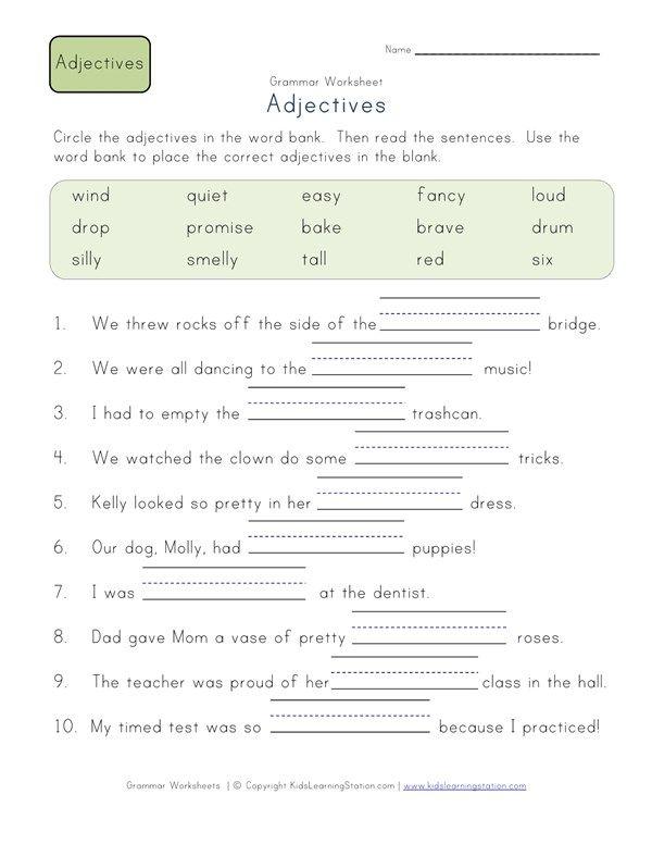 Complete The Sentences Worksheet 1 All Kids Network Adjective Worksheet Adjectives Second Grade Second grade adjectives worksheet
