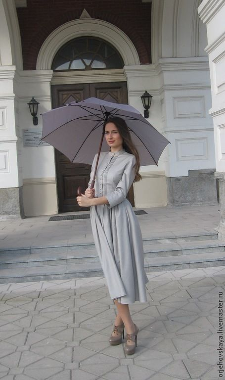 """Купить Платье из шерсти """"Леди Мэри"""" - серый, в полоску, платье офисное, платье ретро"""