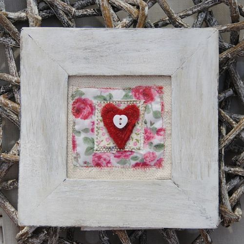 Rich red felt heart and rose embroidery looks great with natural distressed frame.