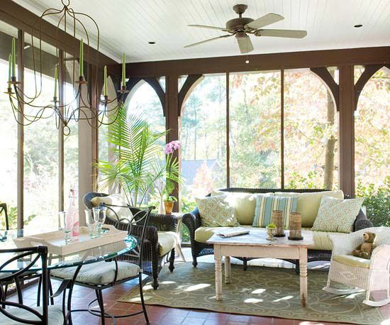 Keep an enclosed porch connected to the outdoors with color and texture. Wide-plank wood flooring, oversized arched windows, and plenty of plants set an organic tone. A glasstop table set and a large chandelier are visually lightweight yet compelling.Nature Wonder, Screens Porches, Outdoor Porches, Sun Porches, Porches Enclos, Natural Wonders, Wood Floors, Porches Ideas, Enclosed Porches