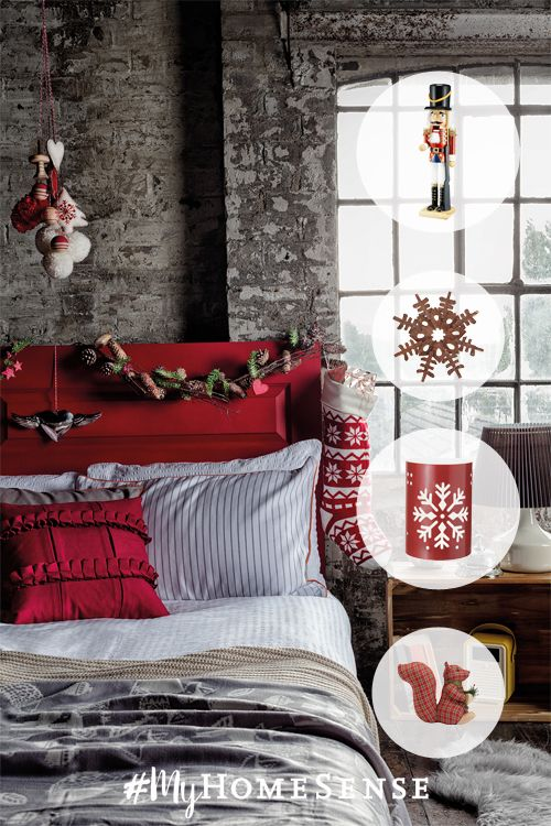 """Let's face it – you'll only be singing """"let it snow"""" if you have a cozy cabin-inspired space to retreat to, so create one with plush bedding, warm wood furnishings and snowflake-patterned accents. Visit HomeSense today to get a head start on your winter escape."""