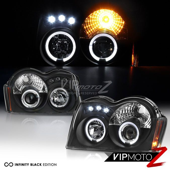 2005-2007 Jeep Grand Cherokee Laredo Limited Black LED Halo Headlights Headlamps #VIPMOTOZ
