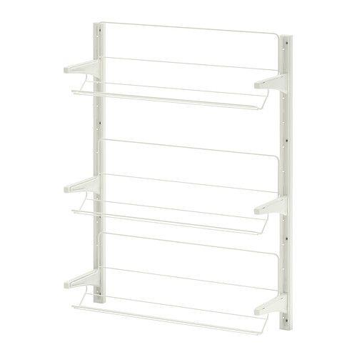 IKEA - ALGOT, Crémaillère/organiseur chaussures, Les éléments de la série ALGOT se combinent de nombreuses façons différentes et peuvent ainsi facilement s'adapter à vos besoins et à l'espace dont vous disposez.Comme les consoles, tablettes et accessoires se fixent par un simple clip, il est facile de monter, d'adapter et de modifier votre solution de rangement.Peut être utilisé partout dans la maison, même dans des endroits humides comme une salle de bain ou un balcon vitré.