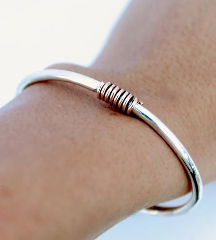 Silver  Gold Hammered Cuff Bracelet