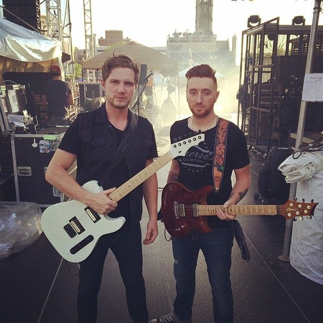 Brandon Autry and Derrick Royer of Chase Rice with their sexy custom zane guitars.