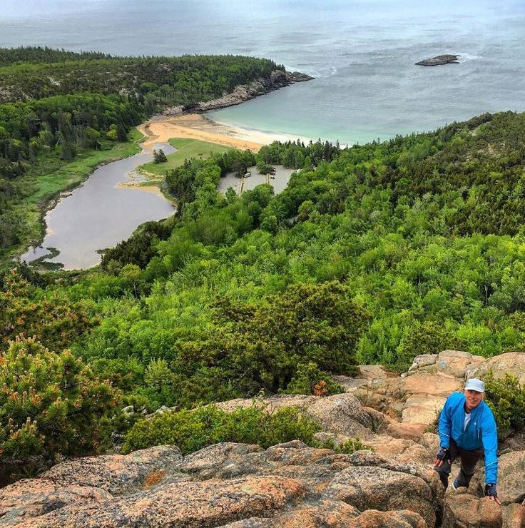 Looking back on Acadia National Park's famous Sand Beach from the summit of the Beehive. (Photo via Instagram: rondack13)