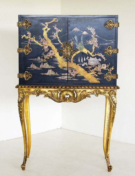 "Joannes Lucas - CHINOISERIE CABINET ON STAND 34,5"" x 18"" x 52,5"" H"