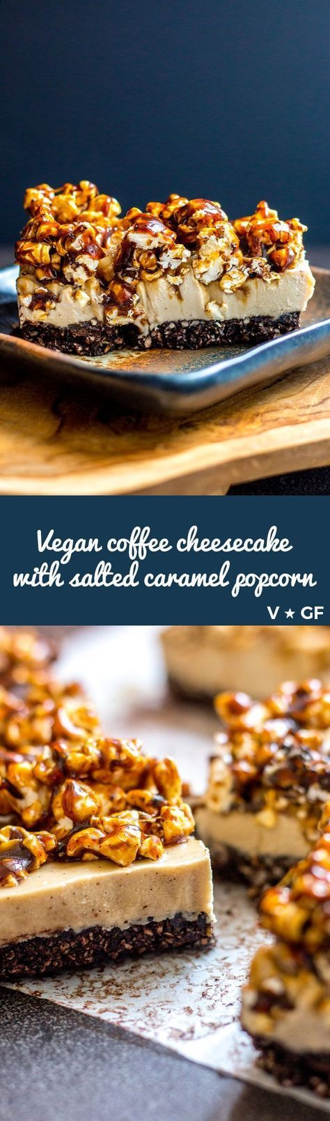Creamy vegan coffee cheesecake topped with home made salted coconut caramel popcorn. Swoon. Vegan and gluten free.