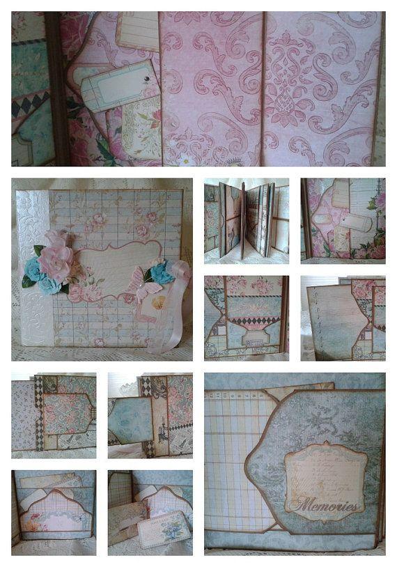 Large Scrapbook Album, 8.75 x 8.75. Handmade Photo Album Featuring Primrose Stack
