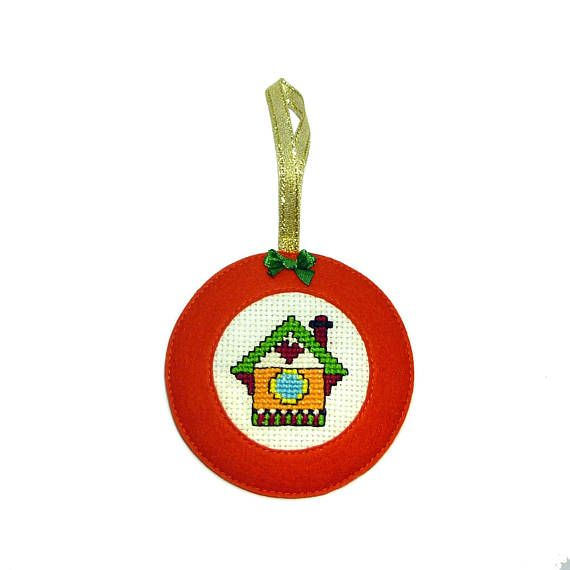 LITTLE HOUSE  Embroidered Christmas ornaments  Christmas