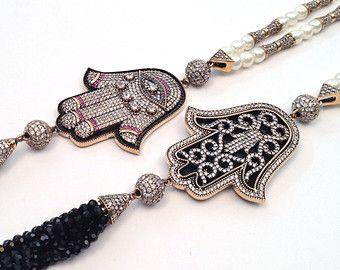 Hamsa Tassel Necklace, Diamond Necklace, Swarovski Crystals, Beaded Tassel Necklaces, Long Necklaces, Arabesque, Layer Necklace