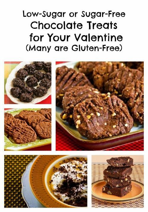 If you're trying to practice carb-conscious eating, it's not too soon to start thinking about healthier options for Valentine's day. This round-up features my favorite Low-Sugar or Sugar-Free Chocolate Treats for Your Valentine (many are Gluten-Free). [from KalynsKitchen.com] #CarbConscious #Chocolate