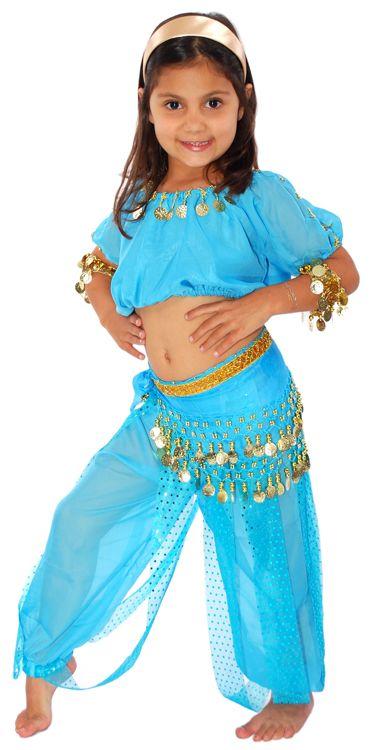 6-Piece Girls Arabian Princess Genie Costume in Jasmine Blue