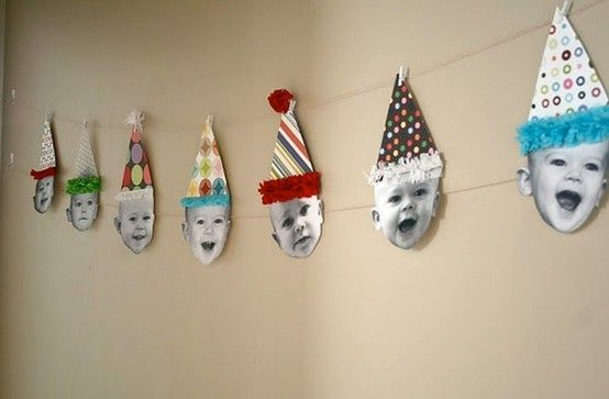 baby face garland/pennants would be great for a 1st birthday (month by month of babies face) or graduation party (with school year pics) by angela