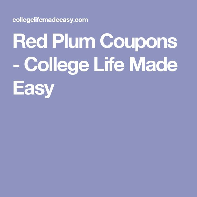 Red Plum Coupons - College Life Made Easy