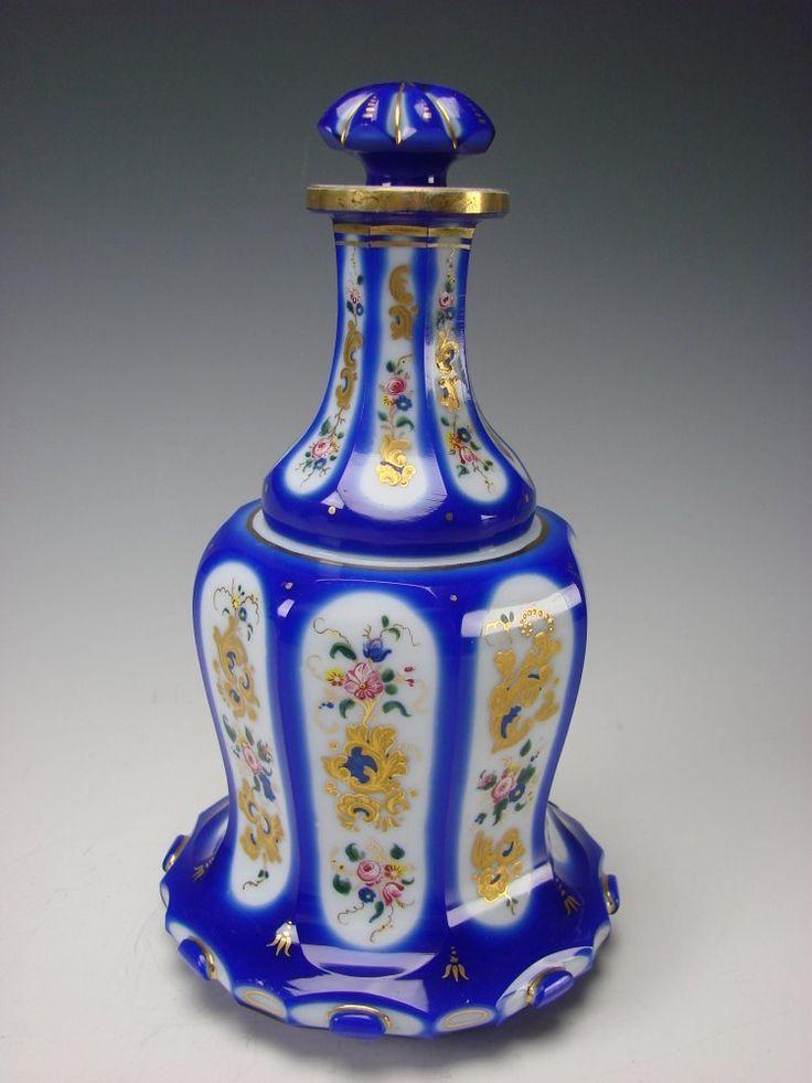 Antique Moser Bohemian Cased Enamel Glass Bottle Made For ...