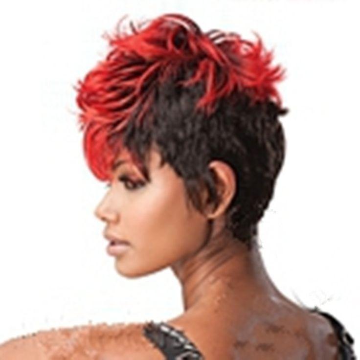 Hairjoyスタイリッシュなショートカーリー赤と黒合成ヘアウィッグ女性ファッションcospayパーティーかつら