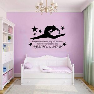 GYMNAST GYMNASTIC,GIRLS Bedroom Quote, Vinyl Wall Art Sticker Decal, Mural, 2