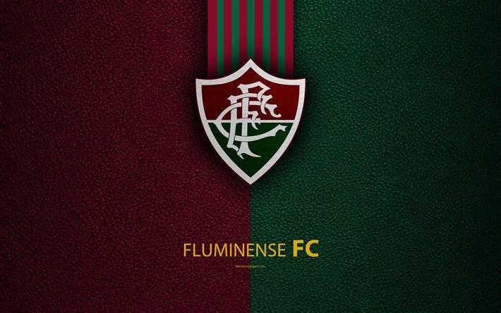 Download wallpapers Fluminense FC, 4K, Brazilian football club, Brazilian Serie A, leather texture, emblem, Fluminense logo, Rio de Janeiro, Brazil, football