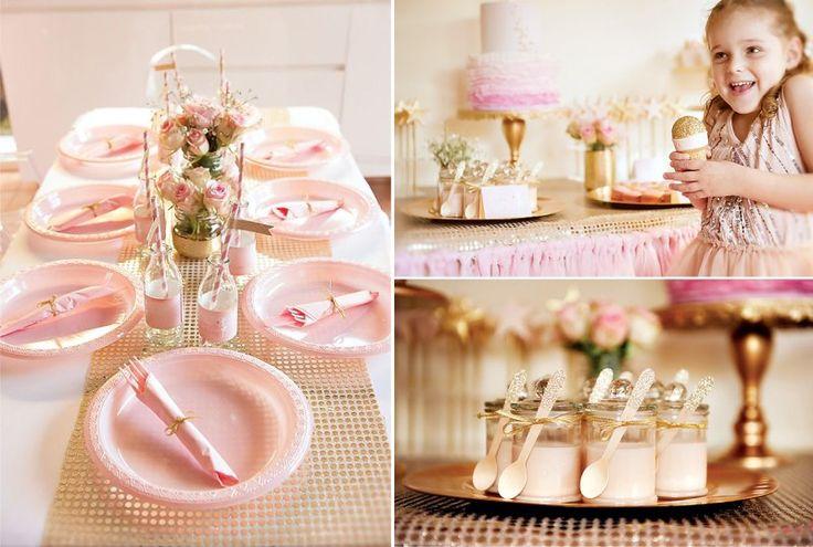 Розово-золотое оформление стола