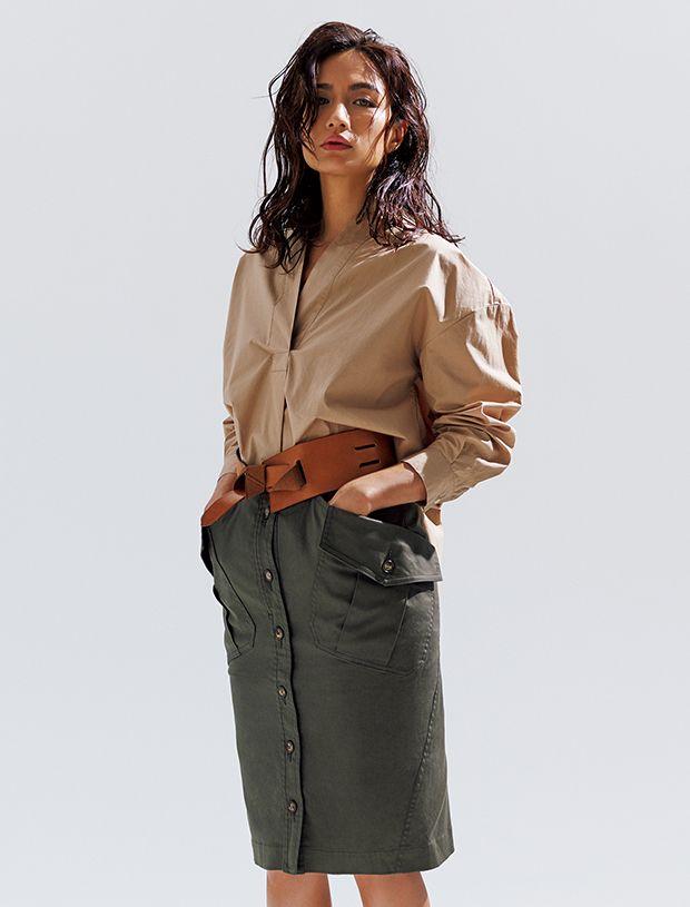 A-line tuck shirt&Military skirt