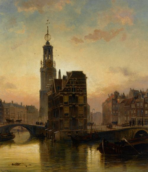 A View of the Munt Tower Amsterdam -Cornelis Christiaan Dommershuijzen 1890