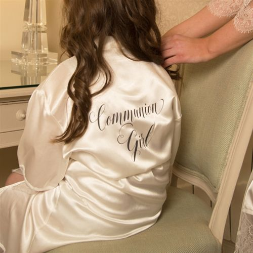 Personalised Communion Girl Satin Robe. Get ready for the special day in a personalised robe that also makes a beautiful keepsake of the occasion. WowWee.ie   €25